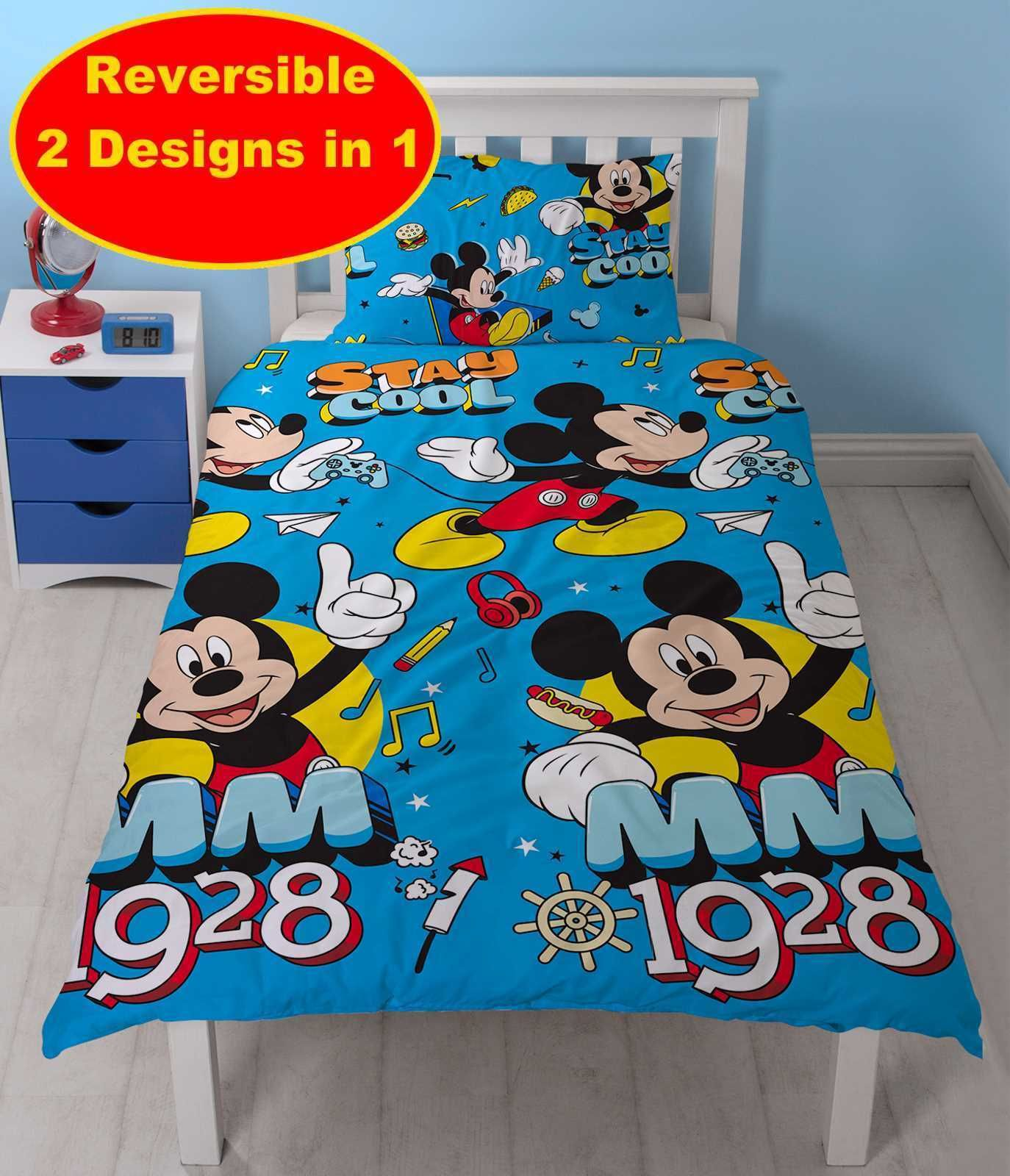 Disney Mickey Mouse Cool Single Duvet Quilt Cover & Pillowcase