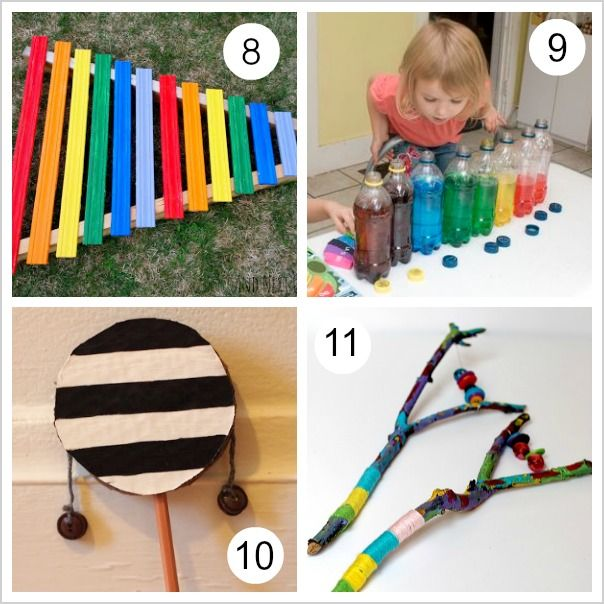 If you've ever wondered how to make a musical instrument with your kids, you'll definitely want to check out this round up of over 10 homemade musical instruments!