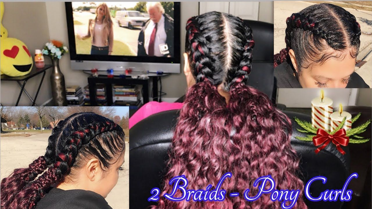 2 Feed In Braids With Curly Ponytail Ends Start To Finish Feed In Braid 2 Feed In Braids Feed In Braids Hairstyles