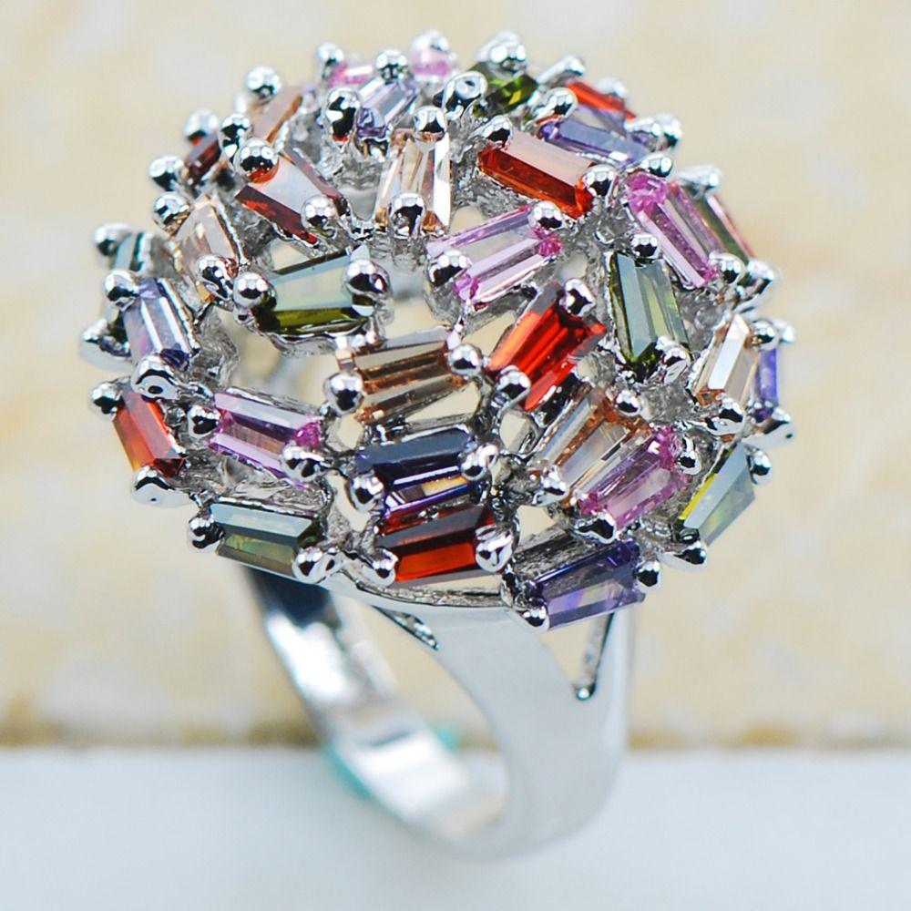 Peridot Pink Sapphire Garnet Morganite 925 Sterling Silver Top Quality Fancy Jewelry wedding Ring Size 6 7 8 9 10 F1133 www.bernysjewels.com #bernysjewels #jewels #jewelry #nice #bags