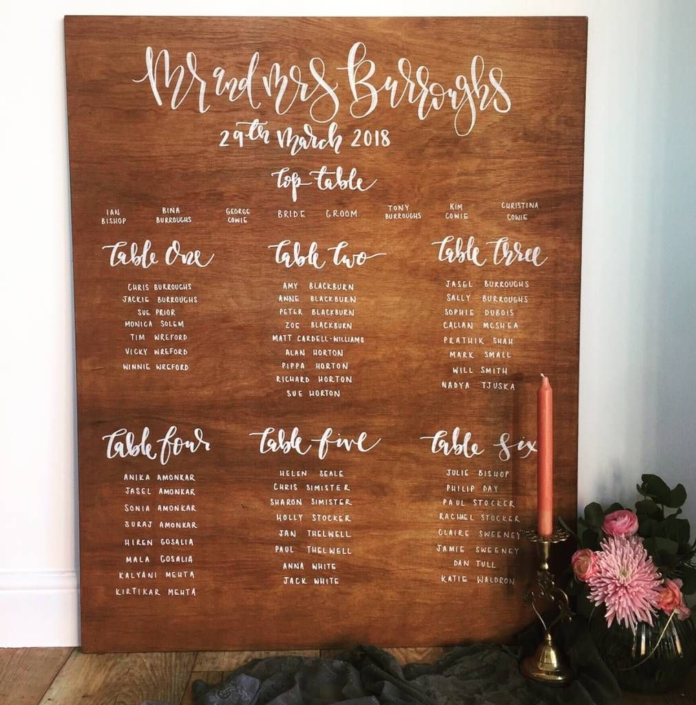 Large Personalised Wooden Table Plan Wooden Tables Wooden