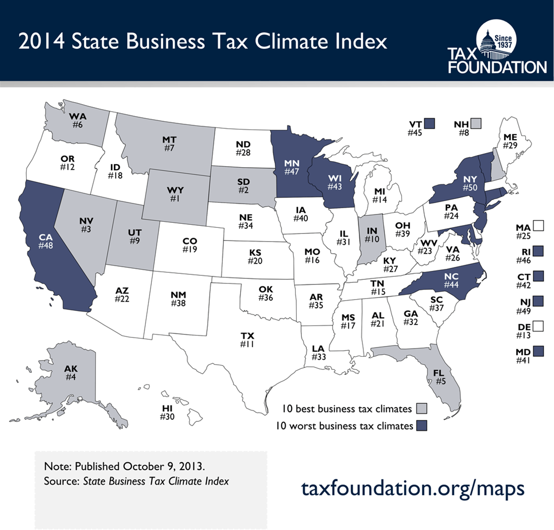 Western US Best For Business Tax Foundation Says Business - Us sales tax map