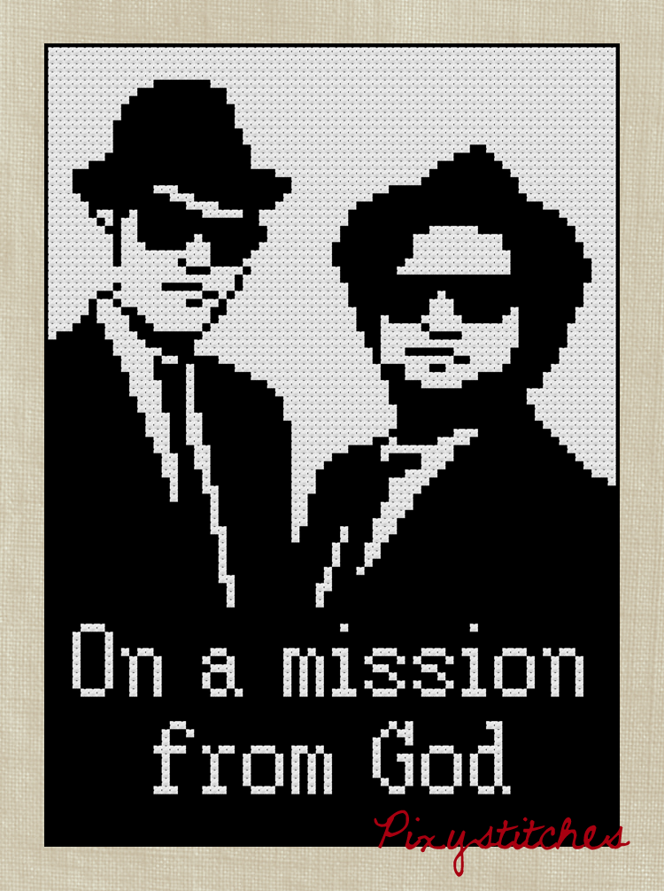On a mission from God -- $3.50, pixystitches