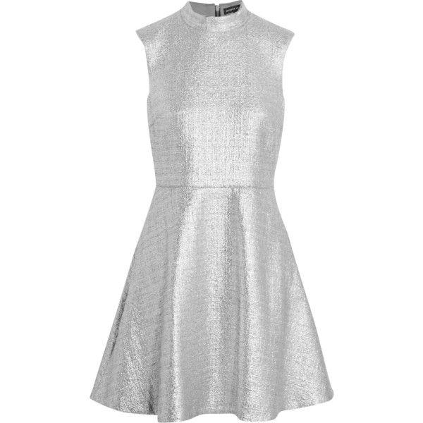 Markus Lupfer Savannah metallic cotton-blend mini dress ($335) ❤ liked on Polyvore featuring dresses, silver, mini dress, loose fit dress, fitted dresses, loose fitting dresses and metallic mini dress