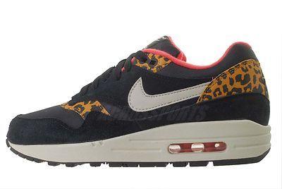 nike wmns air max 1 black leopard animal womens slippers