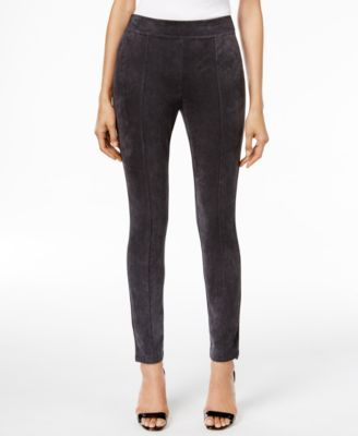 Large Charcoal -   Calvin Klein Faux-Suede-Front Seamed Leggings