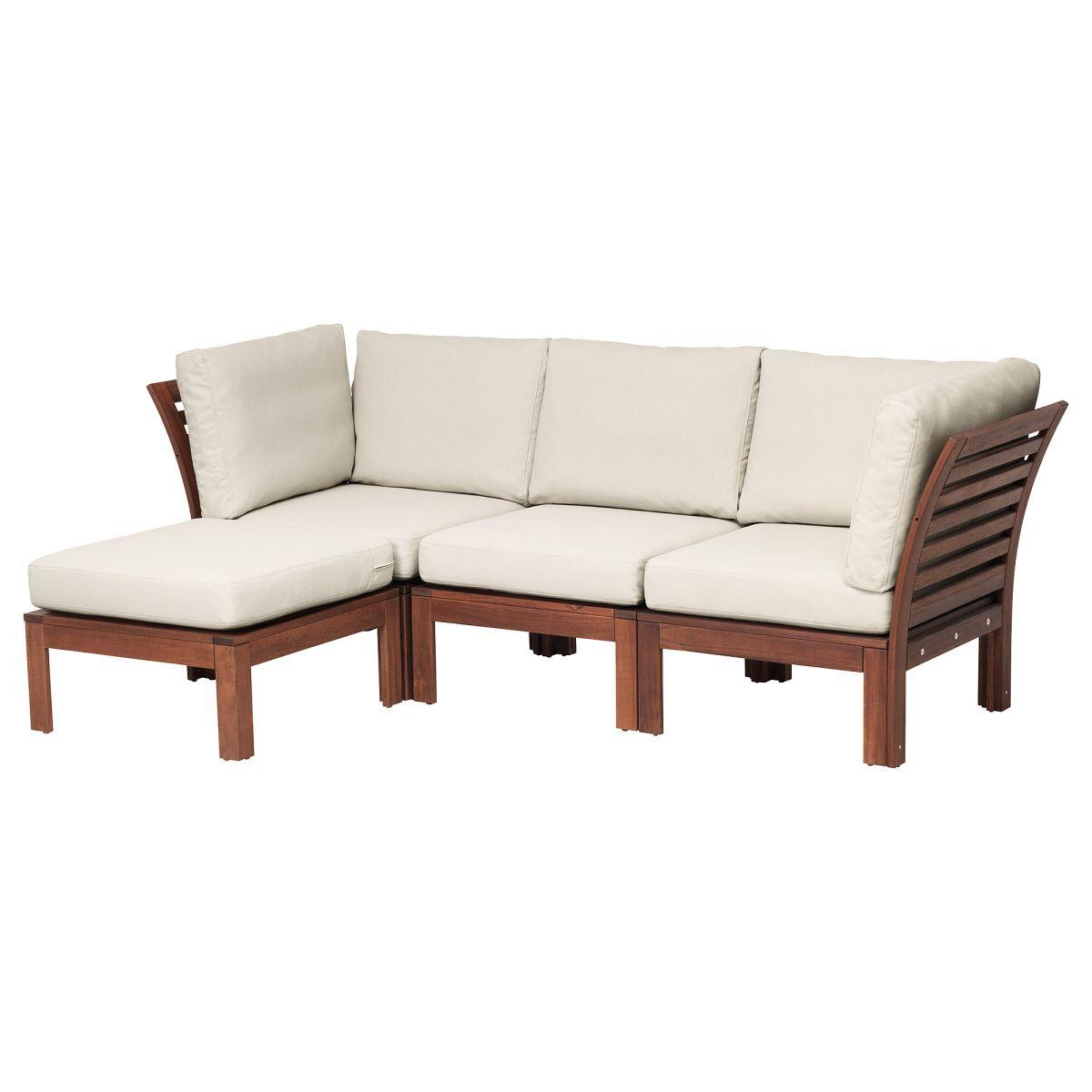 ÄPPLARÖ, 3er-Sofa + Hocker/außen, braun las., beige Jetzt bestellen ...