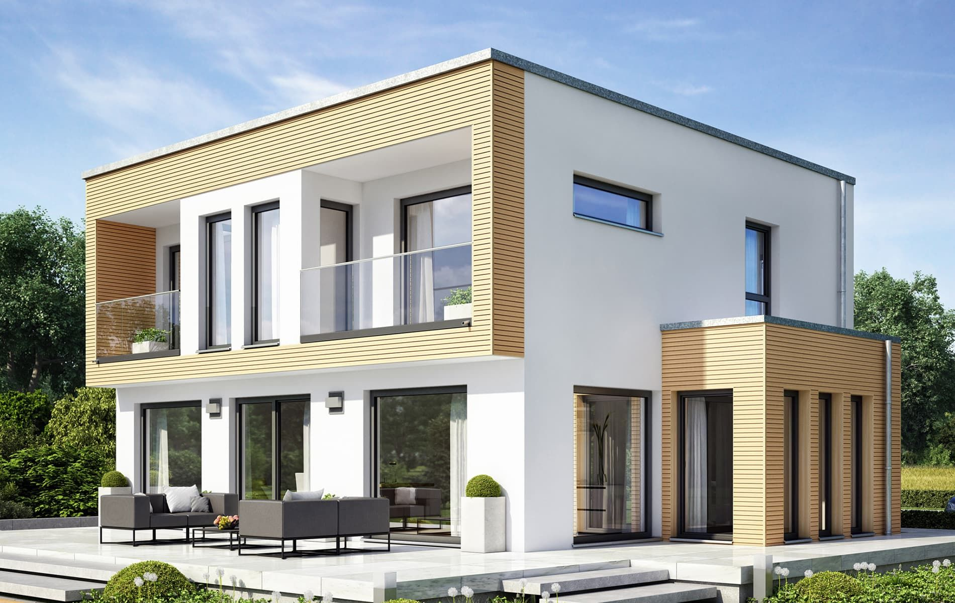 Elegant-modernes Traumhaus mit Fassadenrahmen und Fassadenrücksprung ...