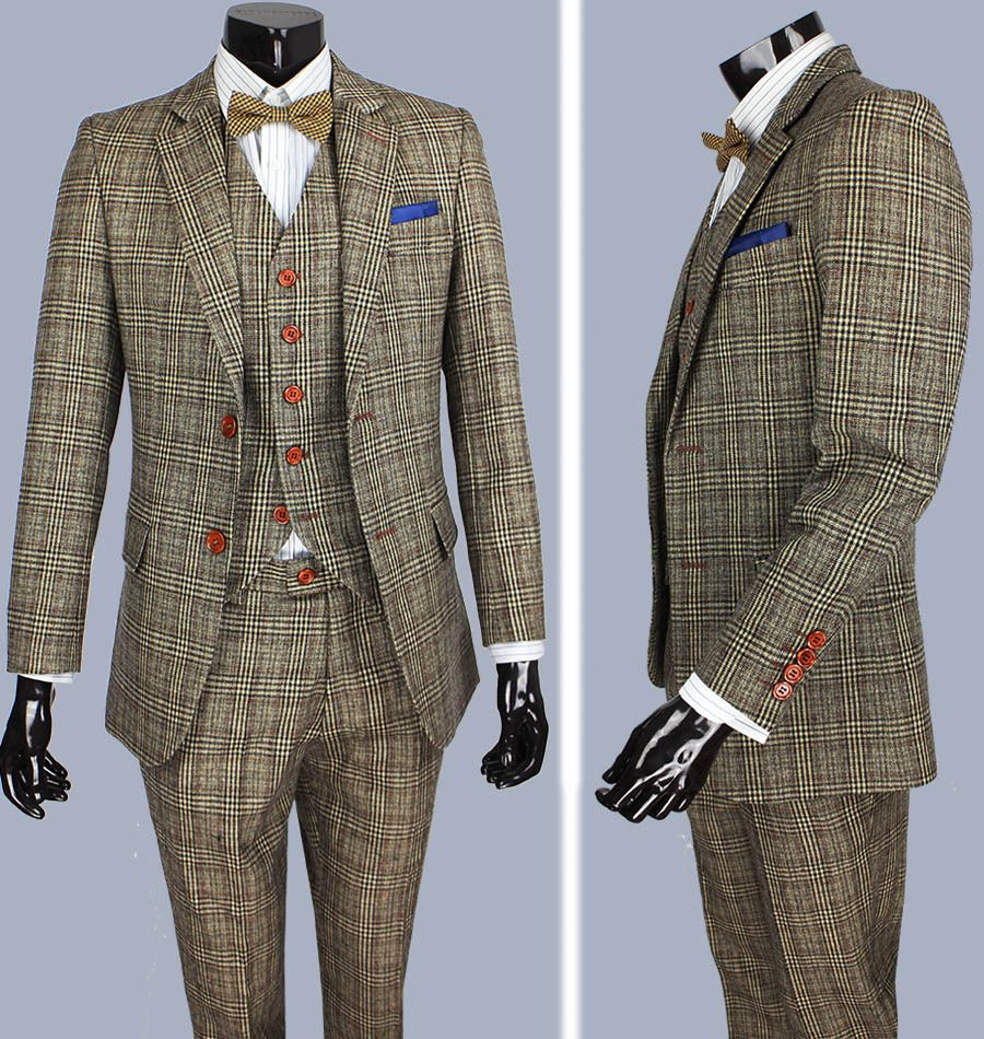 retro brown plaid groom tuxedos custom made slim fit wedding suits for men blazers tailor made. Black Bedroom Furniture Sets. Home Design Ideas