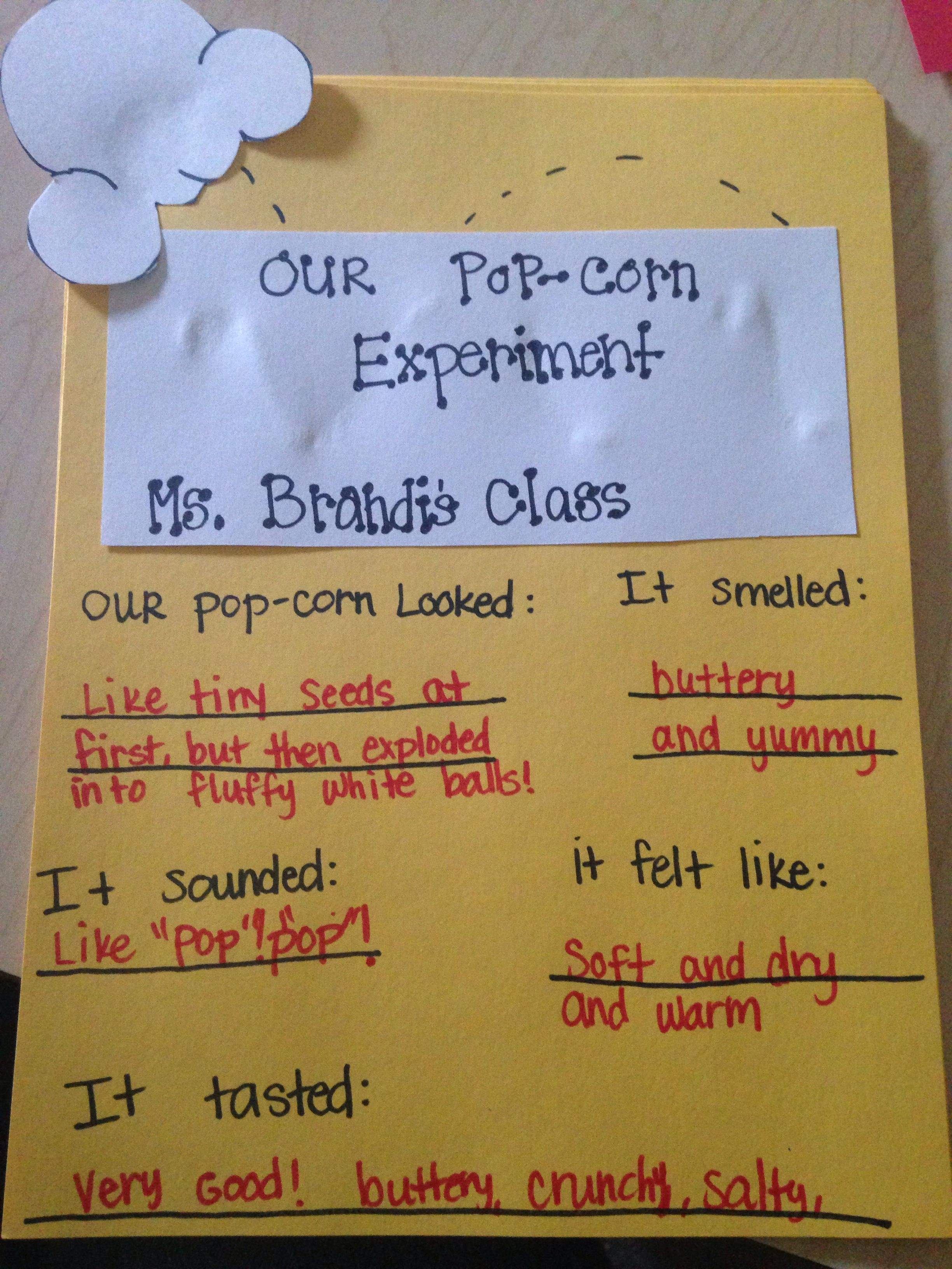 5 Senses Popcorn Activity Ask Questions Before During