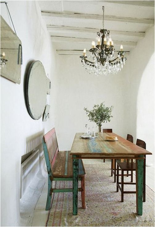 Rustic Dining Table With Bench Chairs Zege Architects Marilyn Katsaris Tinos Island House In Greece Yatzer