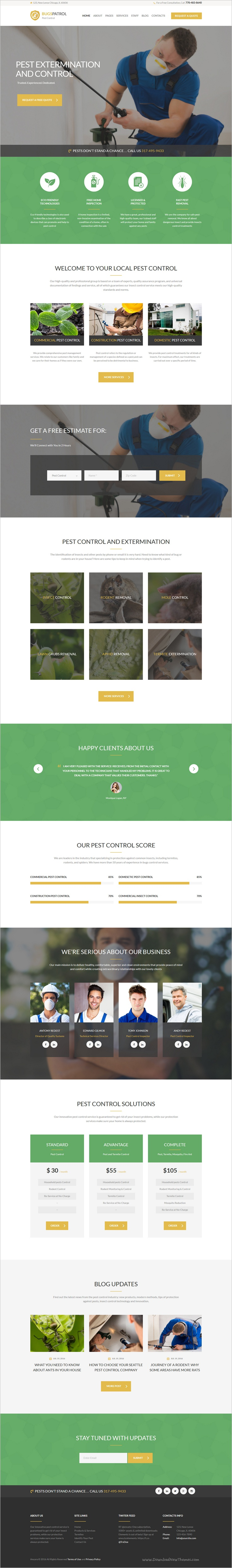 bugspatrol is a modern and functional responsive wordpress theme for pest control services