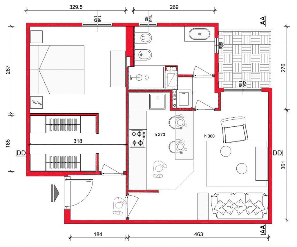 Mini Casa 47 Mq Ben Sfruttati Planimetrie Piccole Planimetrie