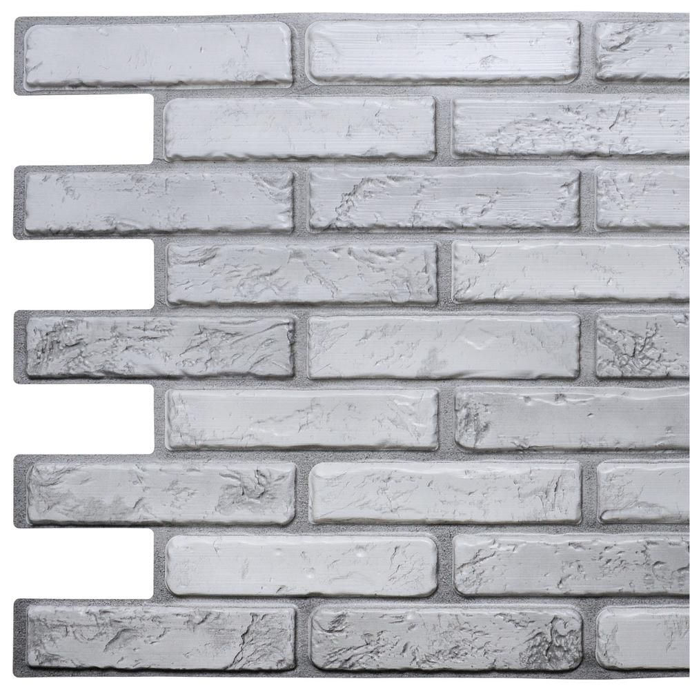 Dundee Deco 3d Falkirk Retro 10 1000 In X 38 In X 20 In Off White Grey Faux Brick Pvc Wall Panel Tp10009236 The Home Depot Brick Wall Paneling Fake Brick Wall Faux Brick Walls
