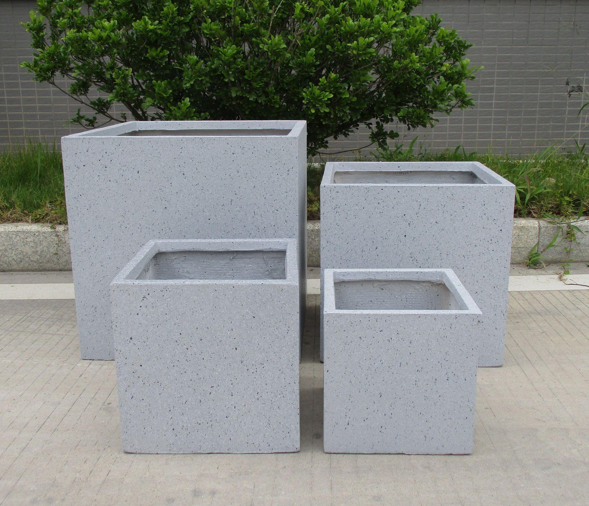 Square Box Contemporary Faux Lead Light Concrete Planter
