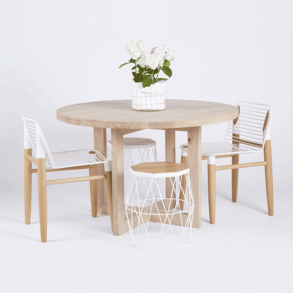 The Bondi Round Dining Table Crafted From Solid American White Oak Or Elm Timber And