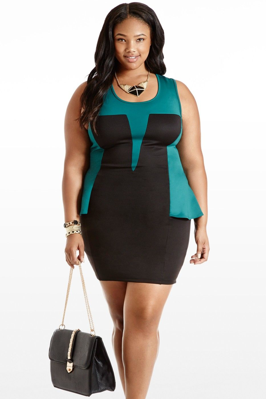 Peplum Squad Colorblock Plus Size Sleeveless Dress Plus Size