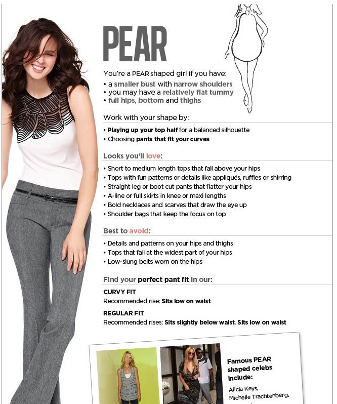 Pear Shape Guide | Beauty | Pinterest | Pear, Body shapes ...