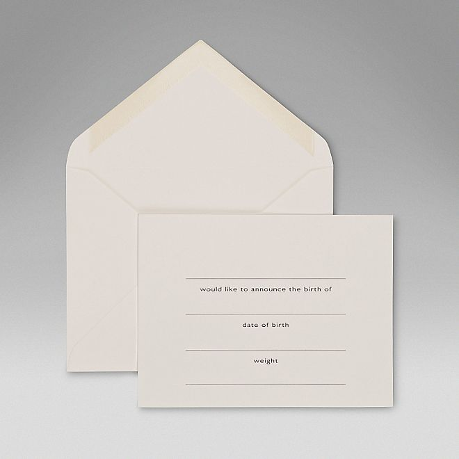 Understated Classic Smythson Baby Announcment Cards