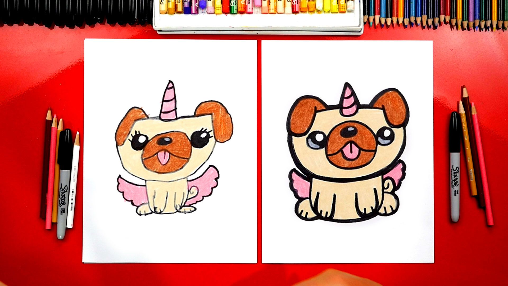 How To Draw A Pugicorn Unipug Unicorn Pug Art For Kids Hub