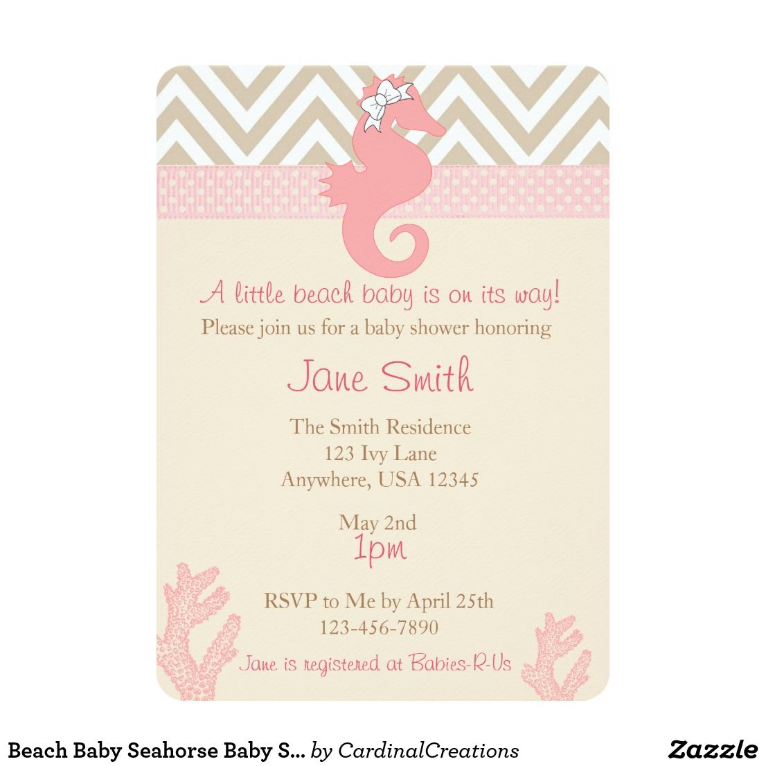Beach Baby Seahorse Baby Shower Invitation   Baby seahorse and ...