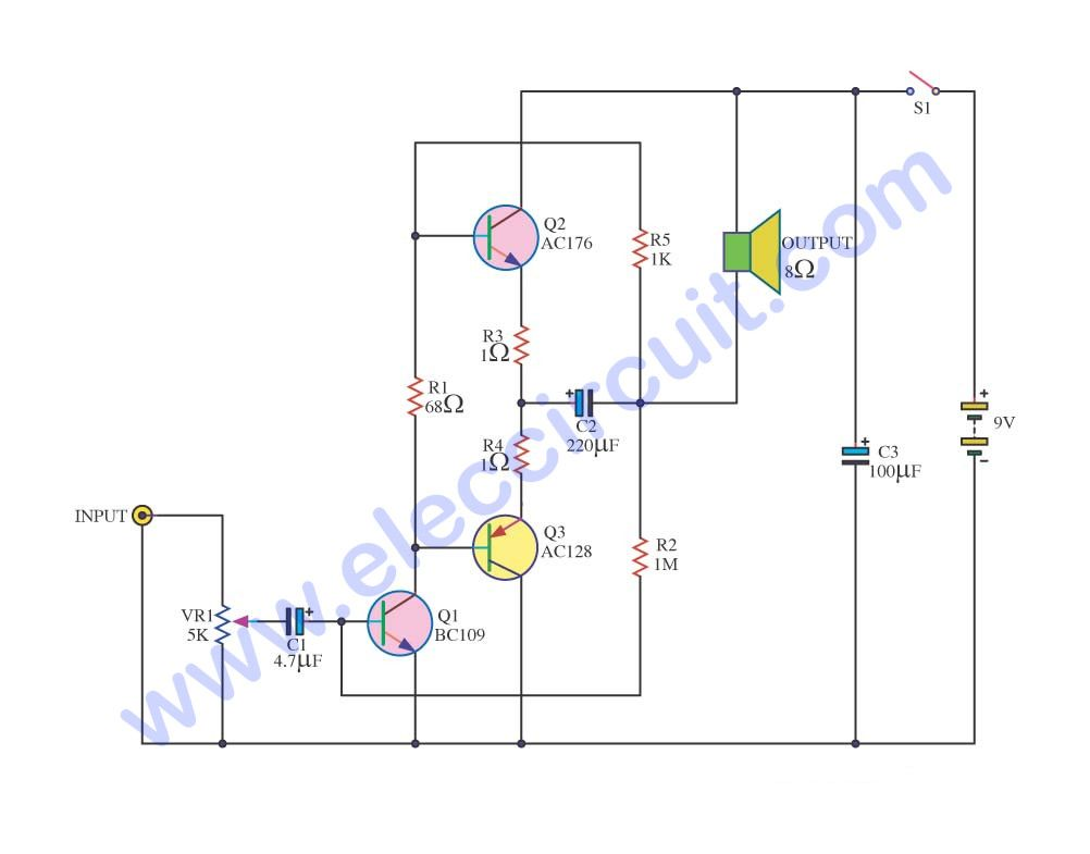 Simple Audio Amplifier Circuit Diagram Using Transistor Common Base Power Otl Ac176 Ac126