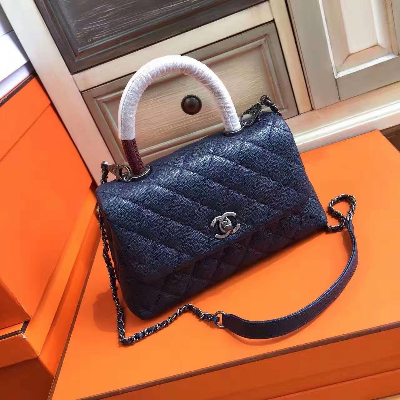 Chanel Blue Calfskin Lizard Coco Handle Small Bag - Bella Vita Moda ... 4fb554a72a4f5