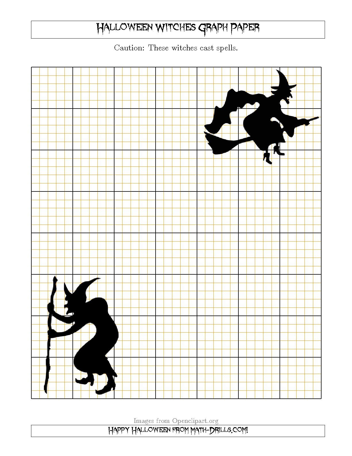 The Halloween Witches 5 Lines Inch Graph Paper Math