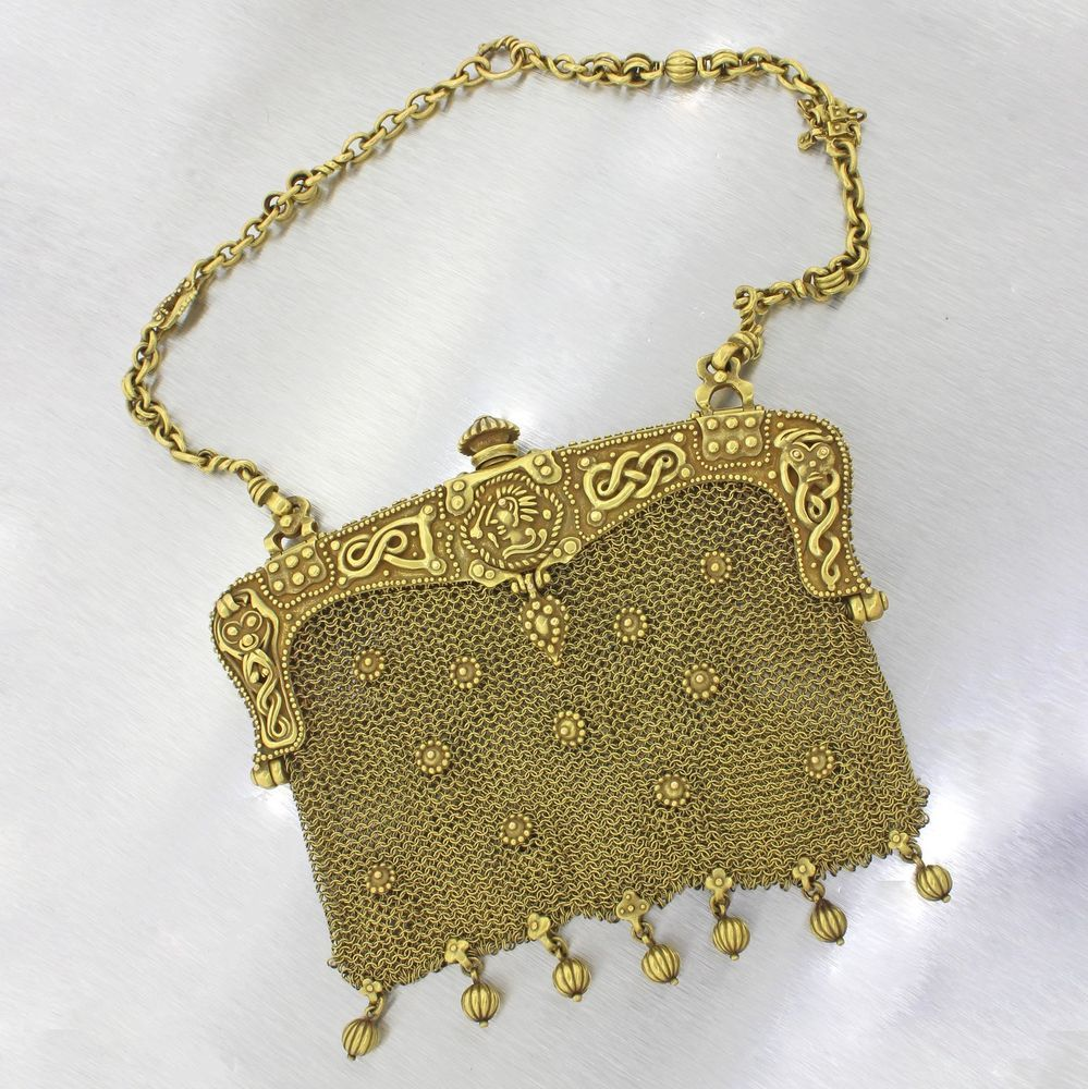 1920s Antique Art Deco 18K Solid Yellow Gold Marcus & Co. Handmade Mesh…