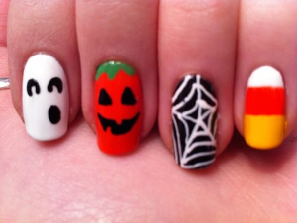 VIDEO: Halloween Nail Art Design with Pumpkin, Ghost Spider web. - 10 Cool Candy Corn Nail Designs Halloween Decorations