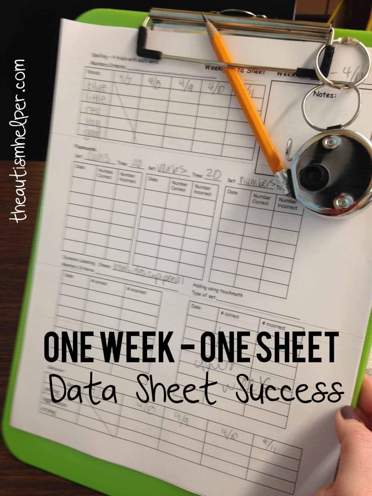 One Week Data Sheet
