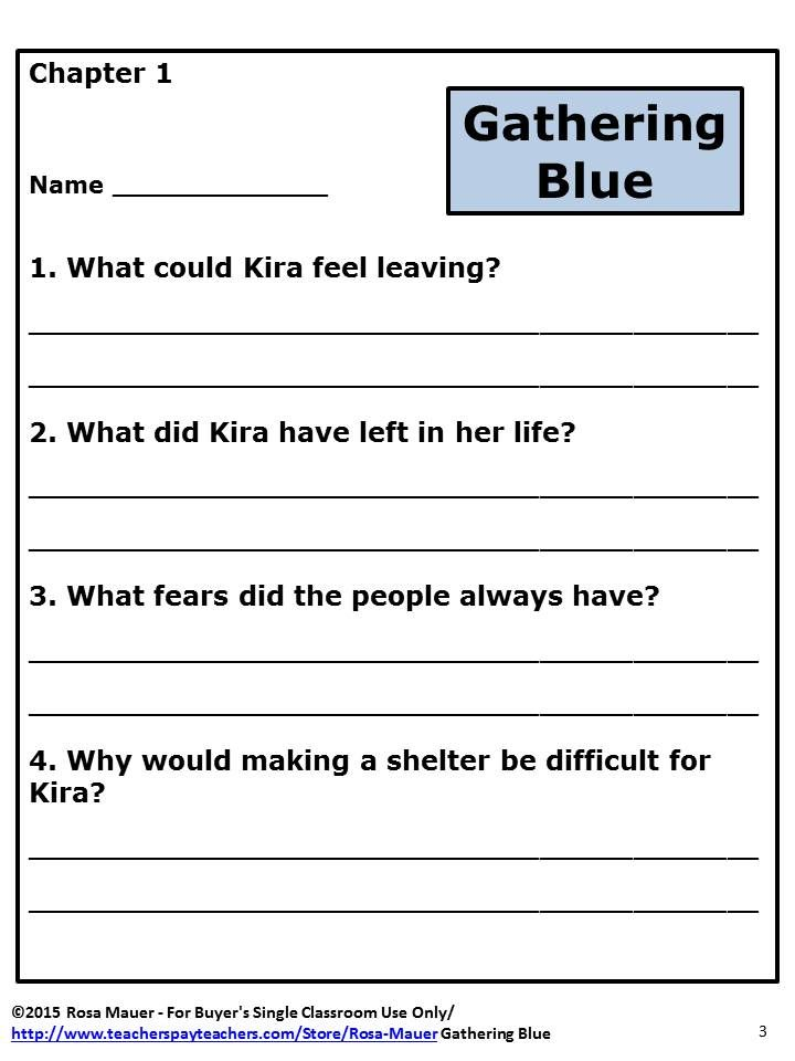 Gathering Blue Reading Comprehension Questions