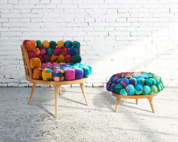 recycled furniture design. istanbulbased designer meb rure has created a recycled silk chair ottoman and stool this ecological furniture family consist of design