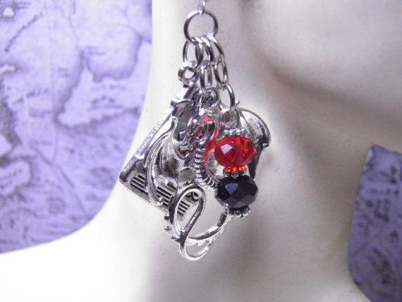 Handcrafted Unique Game of Thrones Earrings with Pewter Book Charms, Fiery Red and Black Aurora Borealis Swarovski Crystals, and Silver Dragon Charms on Sterling Silver French Style Ear Wires by MelancholyMind on etsy.com