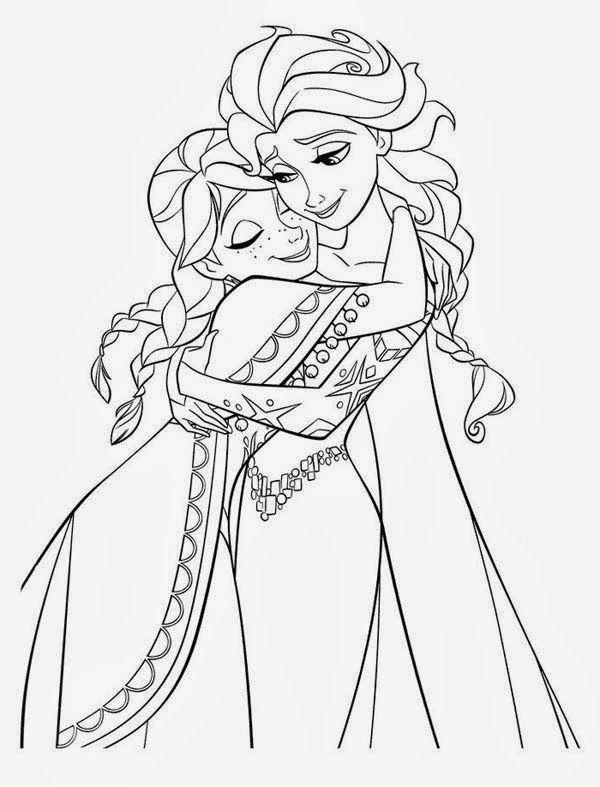 Cute Hug Between Elsa And Anna Kids Coloring Pages Elsa Coloring Pages Disney Princess Coloring Pages Princess Coloring Pages