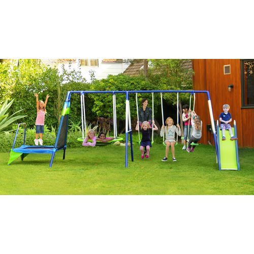The Sportspower Mountain View Metal Slide Swing And Trampoline Set