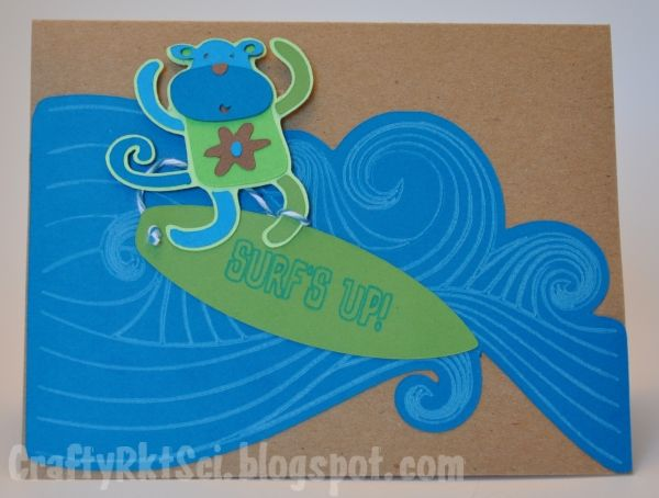 Front of a birthday card I made for the Scrapohoilc Deisgn Team. The waves and surf board are decorated with Cri-Kits gel pens.
