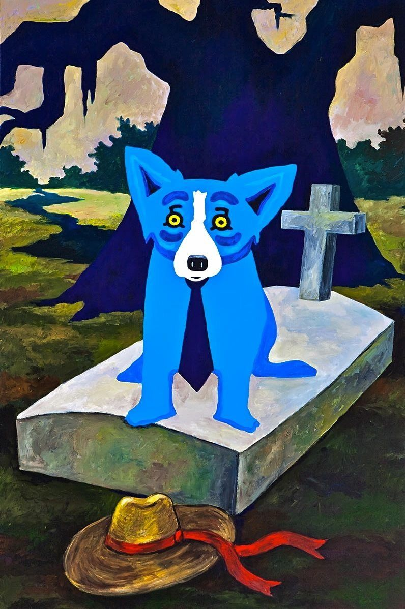 Blue dog painting image by on blue dog
