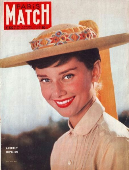 Audrey Hepburn The cover of Paris Match Magazine May 28, 1955 the corner says Audrey Hepburn if you look closely.