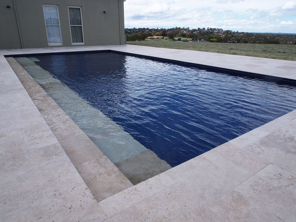 French Pattern Turkish Travertine Features In This Pool Surrounds Travertine Pavers Tiles