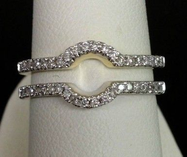 14kt Yellow Gold Solitaire Enhancer Diamonds Ring Guard Wrap Wedding