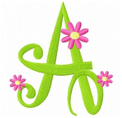 set of flowers letters machine embroidery design daisy font
