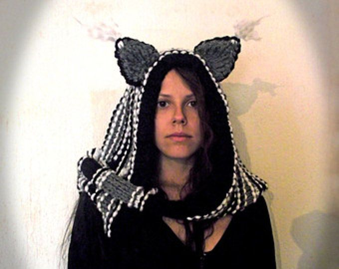 Cat ears Hoodie Scarf Cheshire Cat Costume Scarf with Hood Knit ...
