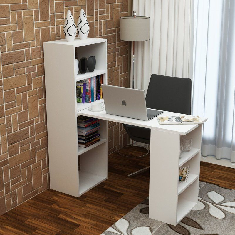 Calcote Writing Desk With Images Computer Desk With Shelves