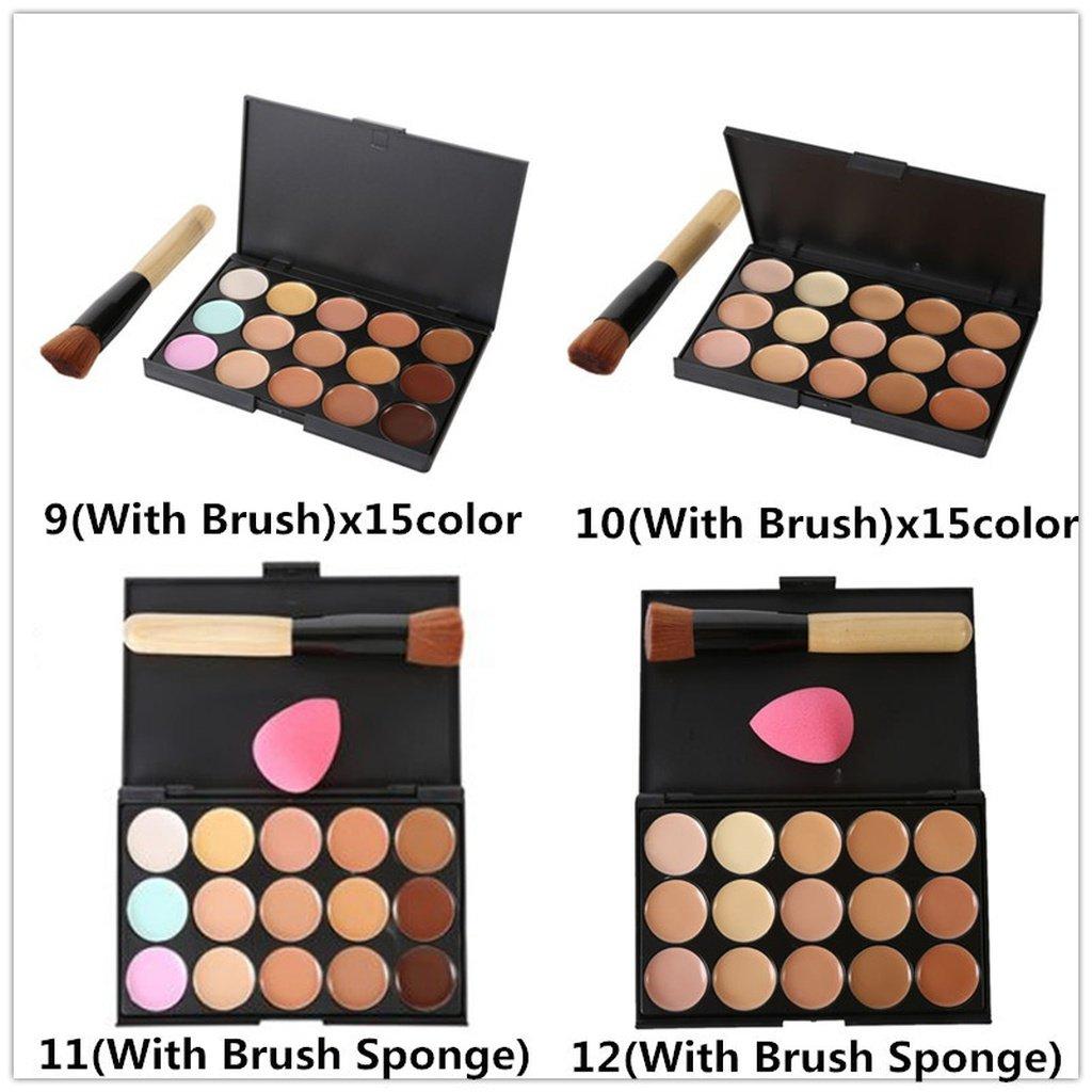 15/6 Color Concealer Palette Kit+Brush Sponge Face Contour