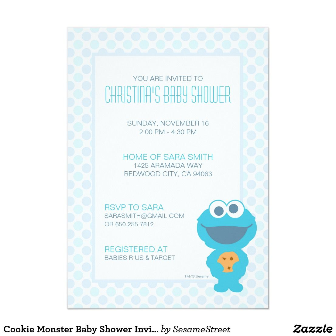 Cookie Monster Baby Shower Invite | Kid\'s Birthdays | Pinterest ...