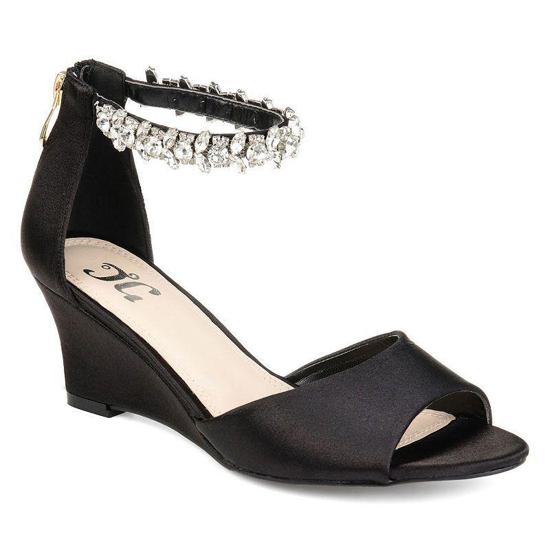 57481948077 Journee Collection Womens Connor Pumps Zip Open Toe Wedge Heel in ...