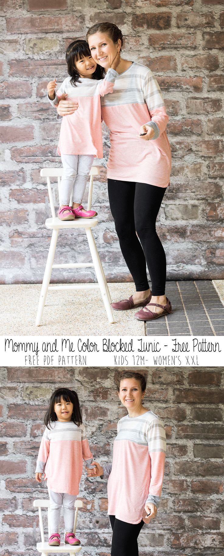 mommy-and-me Color Blocked Tunic Free Pattern tutorial and free pdf ...