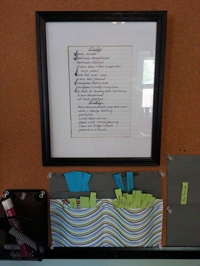 daily checklist in the frame for myself and the kids and we use - daily checklist