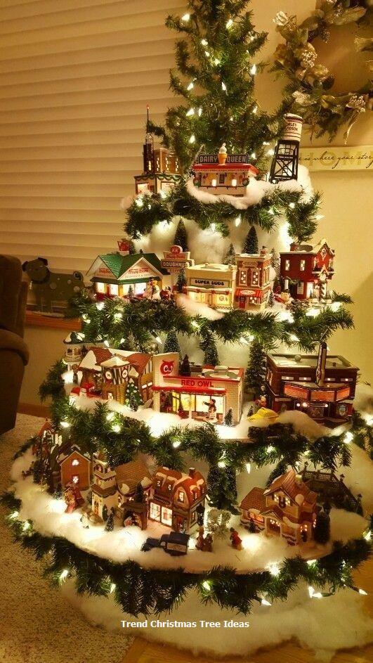 23 Christmas Tree Ideas Creative Christmas Trees Easy Christmas Decorations Christmas Tree Village Display